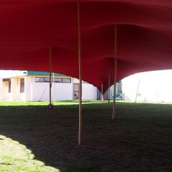 Stretch tent inside red