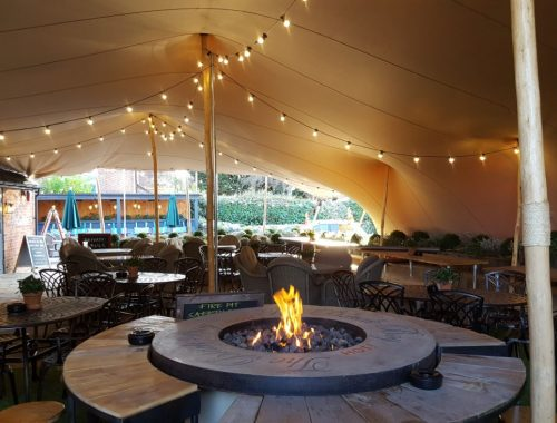 The Black Boy Pub after the stretch tent installation