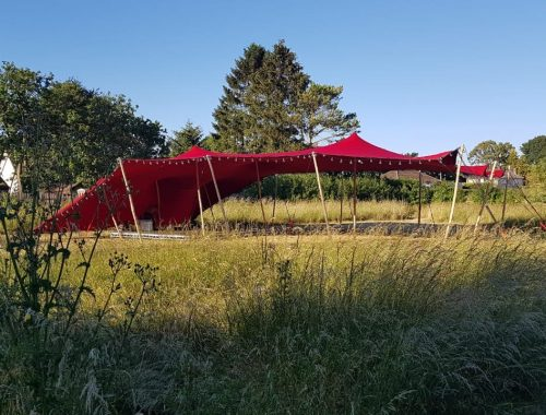 red tent festival tent